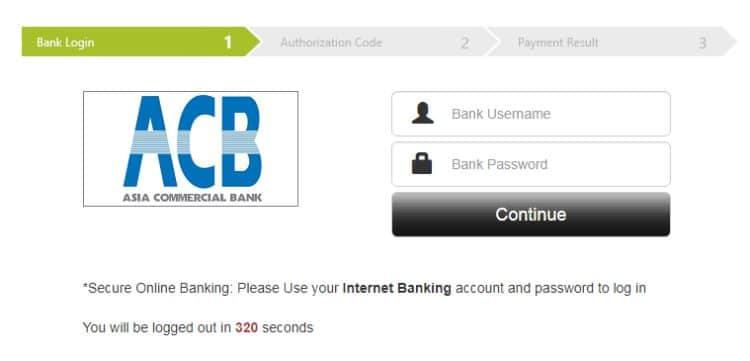 đăng nhập ACB internet banking