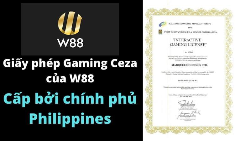 giấy phép gaming ceza philippines w88